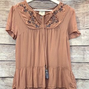 Knox Rose Boho dusty pink floral embroidered top